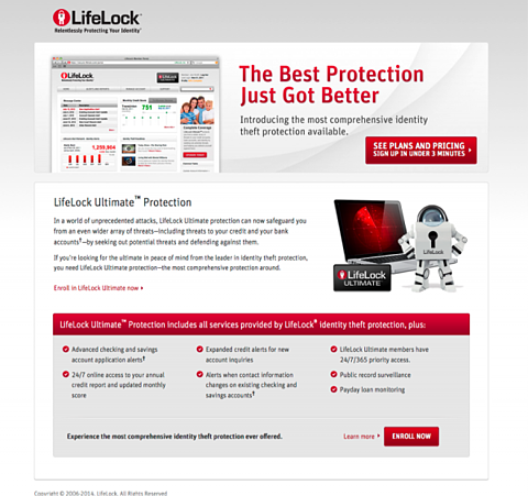 Steal These 5 Killer Landing Page Testing Strategies image Lifelock lp 11 600x564