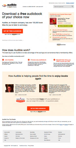Steal These 5 Killer Landing Page Testing Strategies image audible lp 2 309x600